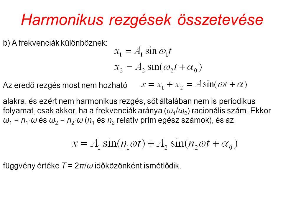 Harmonikus rezgések összetevése b) A frekvenciák különböznek: Az eredő rezgés most nem hozható alakra, és ezért nem harmonikus rezgés, sőt általában nem is periodikus folyamat, csak akkor, ha a frekvenciák aránya (ω 1 /ω 2 ) racionális szám.