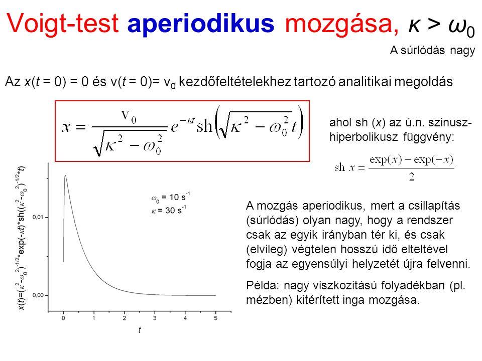 Voigt-test aperiodikus mozgása, κ > ω 0 Az x(t = 0) = 0 és v(t = 0)= v 0 kezdőfeltételekhez tartozó analitikai megoldás A mozgás aperiodikus, mert a csillapítás (súrlódás) olyan nagy, hogy a rendszer csak az egyik irányban tér ki, és csak (elvileg) végtelen hosszú idő elteltével fogja az egyensúlyi helyzetét újra felvenni.