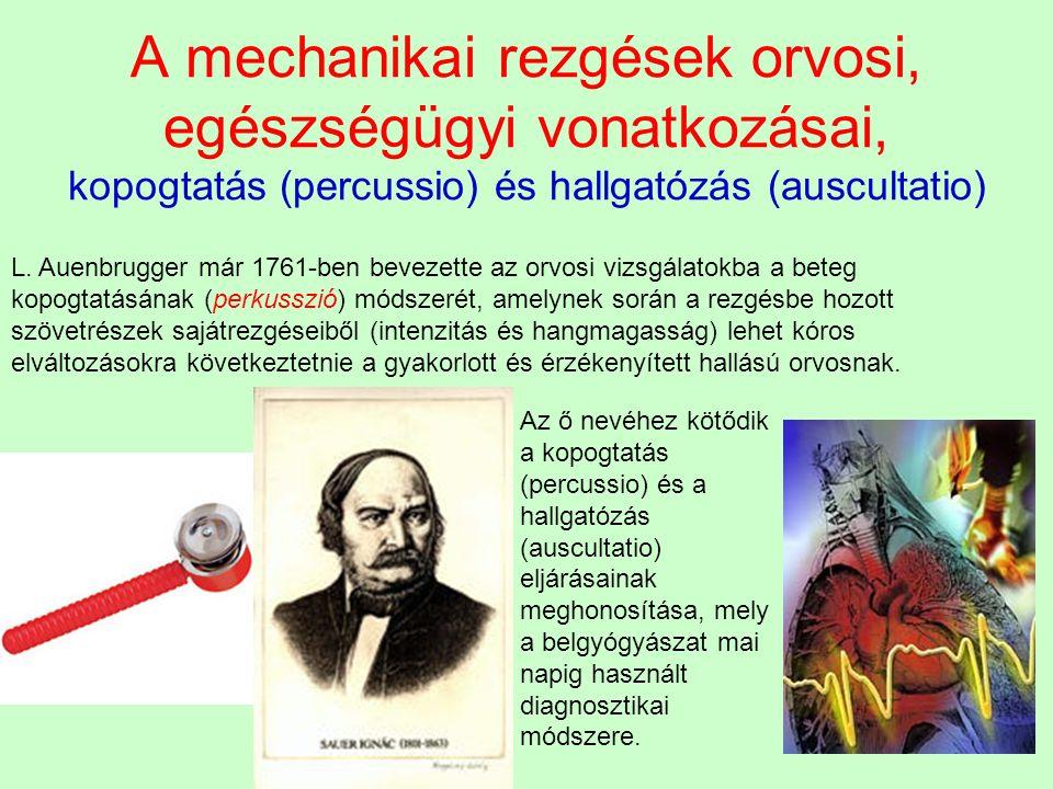 A mechanikai rezgések orvosi, egészségügyi vonatkozásai, kopogtatás (percussio) és hallgatózás (auscultatio) L. Auenbrugger már 1761-ben bevezette az