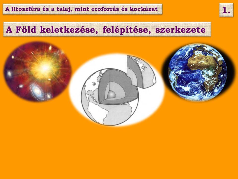 A Föld keletkezése, felépítése, szerkezete A litoszféra és a talaj, mint erőforrás és kockázat 1.