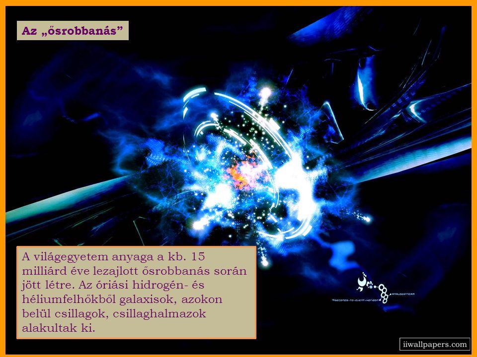 A világegyetem anyaga a kb. 15 milliárd éve lezajlott ősrobbanás során jött létre.