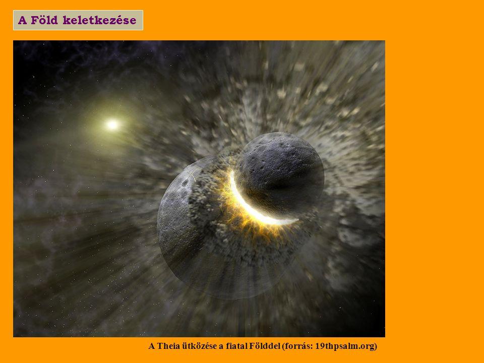 A Föld keletkezése A Theia ütközése a fiatal Földdel (forrás: 19thpsalm.org)