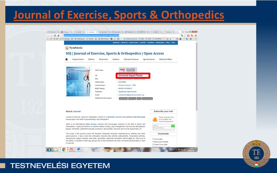 Journal of Exercise, Sports & Orthopedics