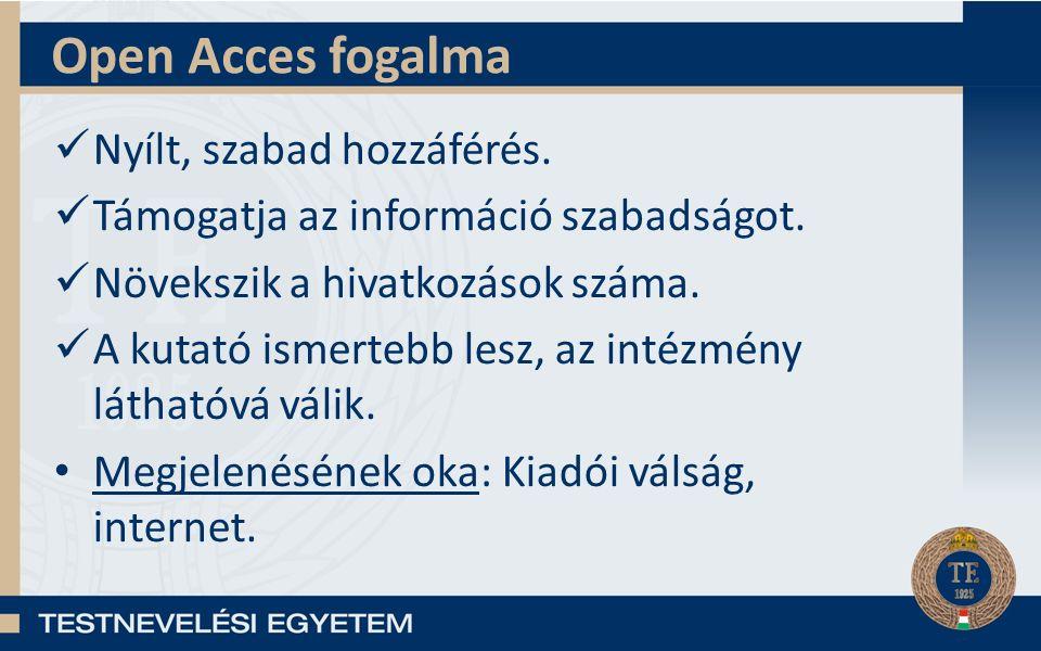 Open Acces fogalma Nyílt, szabad hozzáférés. Támogatja az információ szabadságot. Növekszik a hivatkozások száma. A kutató ismertebb lesz, az intézmén
