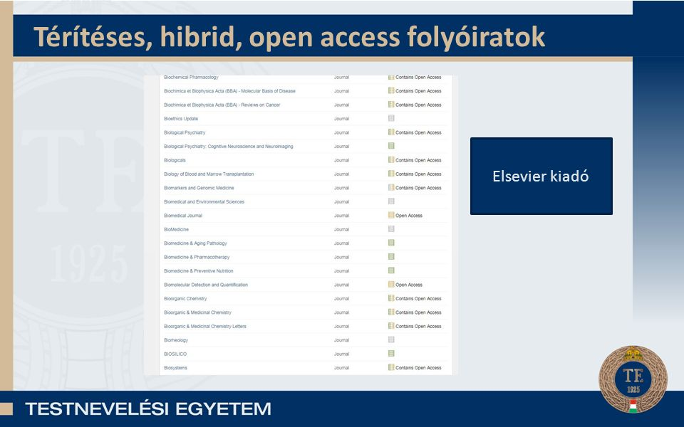 Open access források Folyóiratok: – (DOAJ): https://doaj.org/https://doaj.org/ Könyvek: – DOAB: http://doabooks.org/doab?uiLanguage=enhttp://doabooks.org/doab?uiLanguage=en – OAPEN (bölcsészet- és társadalomtudományi): http://oapen.org/home http://oapen.org/home – Open Book Publishers: http://www.openbookpublishers.com/ http://www.openbookpublishers.com/ Repozitóriumok: – OpenDOAR: http://opendoar.org/search.phphttp://opendoar.org/search.php