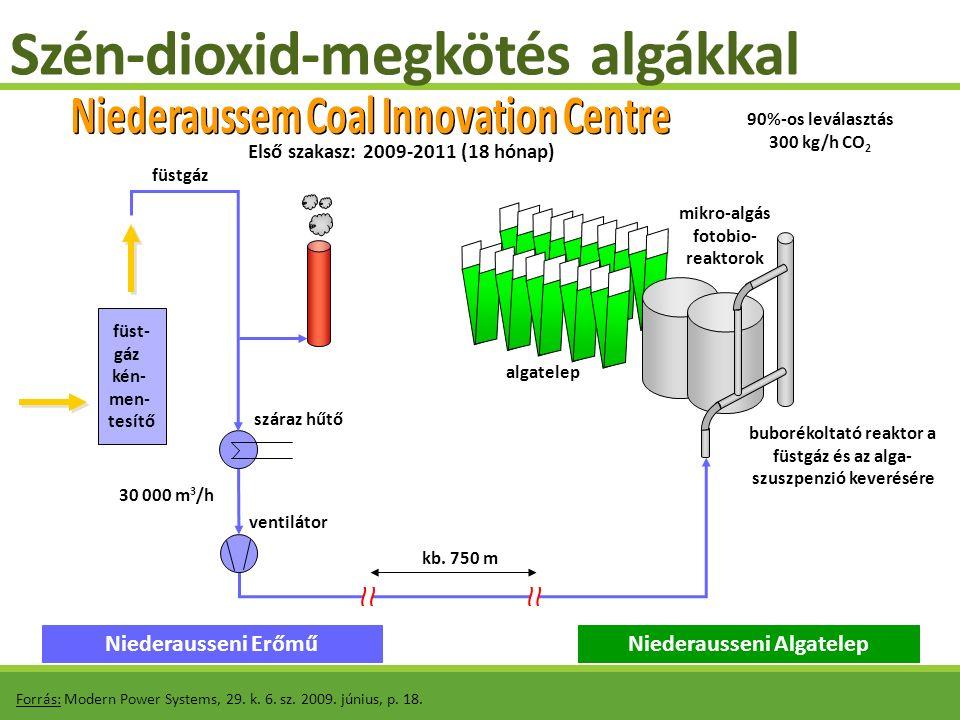Szén-dioxid-megkötés algákkal Forrás: Modern Power Systems, 29. k. 6. sz. 2009. június, p. 18. füst- gáz kén- men- tesítő Niederausseni ErőműNiederaus