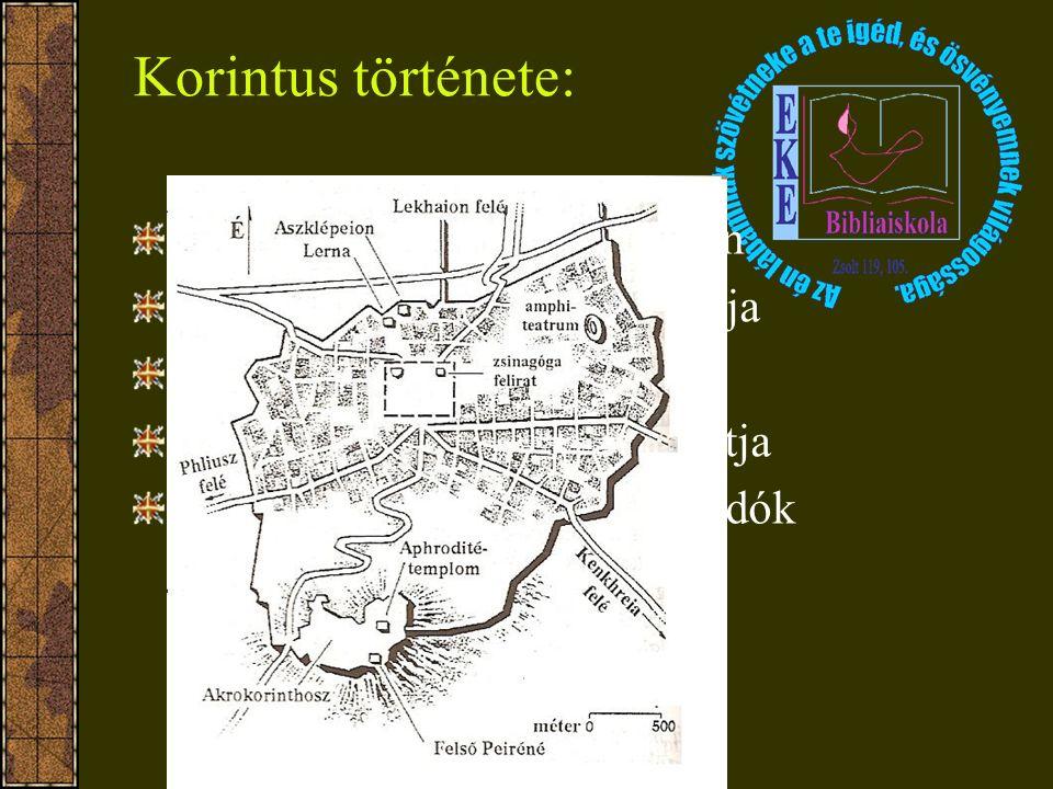 Korintus története: Homérosz említi Ephira néven Kr. e. 146 Mumiusz lerombolja Caesar újraalapítja Kr. e. 40 Akháia közigazgatási központja Lakók: róm