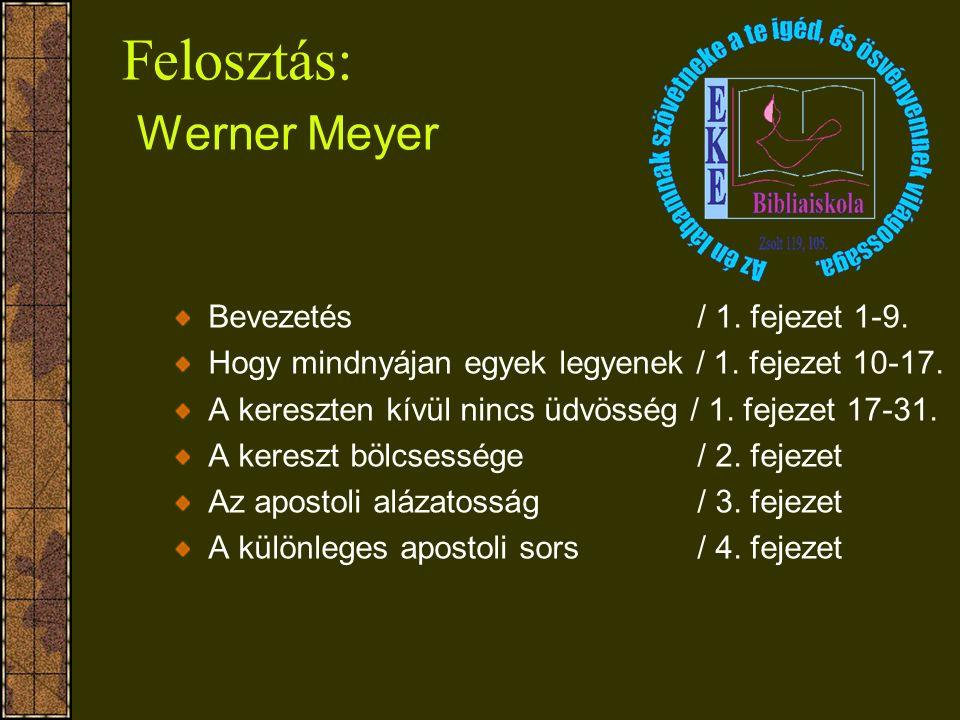 Felosztás: Werner Meyer Bevezetés / 1. fejezet 1-9. Hogy mindnyájan egyek legyenek / 1. fejezet 10-17. A kereszten kívül nincs üdvösség / 1. fejezet 1
