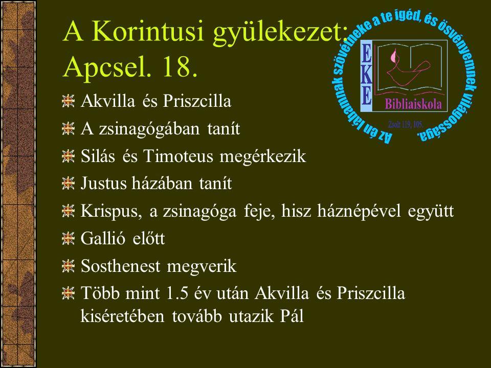 A Korintusi gyülekezet: Apcsel. 18. Akvilla és Priszcilla A zsinagógában tanít Silás és Timoteus megérkezik Justus házában tanít Krispus, a zsinagóga