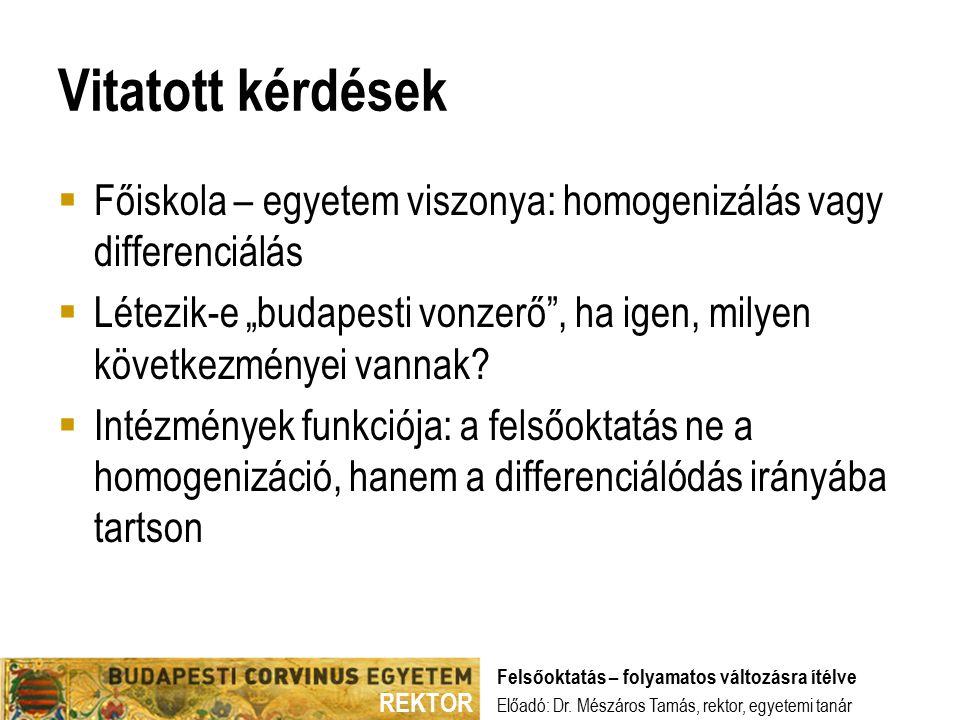 """REKTOR Vitatott kérdések  Főiskola – egyetem viszonya: homogenizálás vagy differenciálás  Létezik-e """"budapesti vonzerő , ha igen, milyen következményei vannak."""