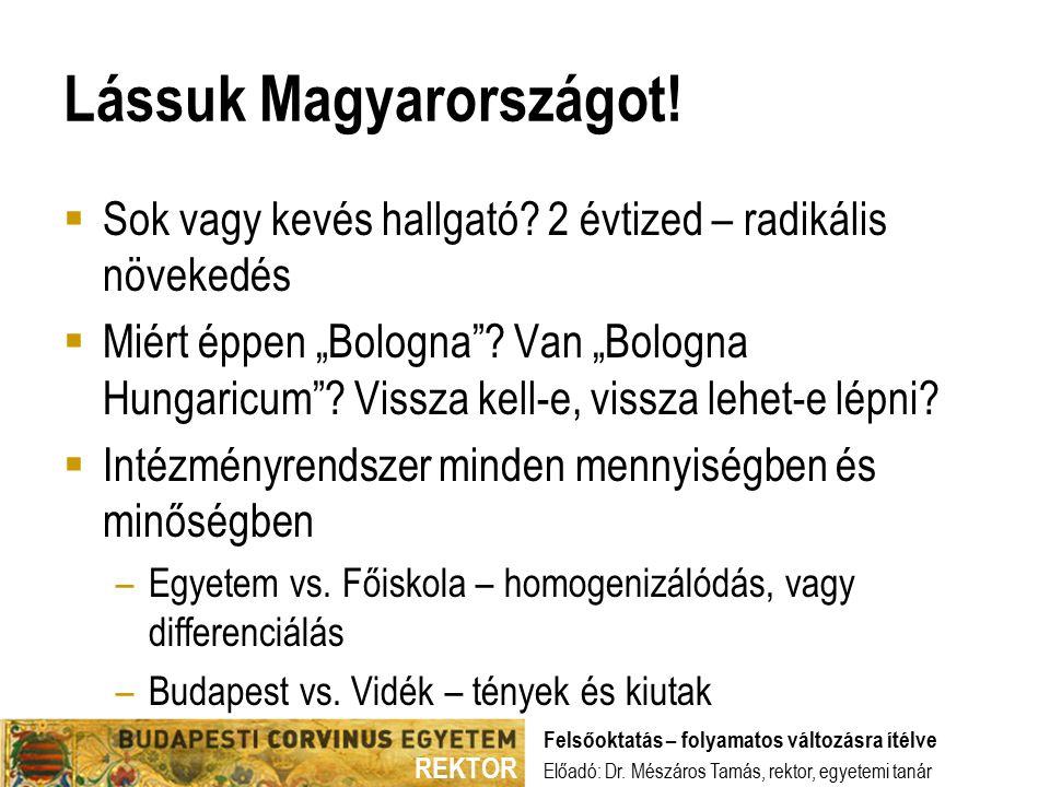REKTOR Lássuk Magyarországot.  Sok vagy kevés hallgató.
