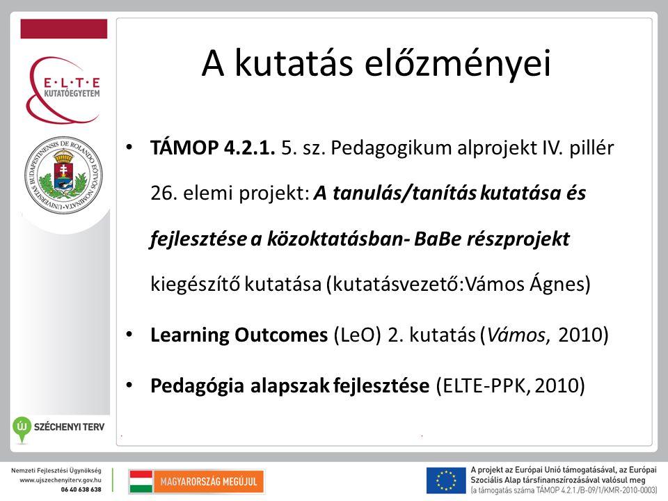 A kutatás előzményei TÁMOP 4.2.1. 5. sz. Pedagogikum alprojekt IV.