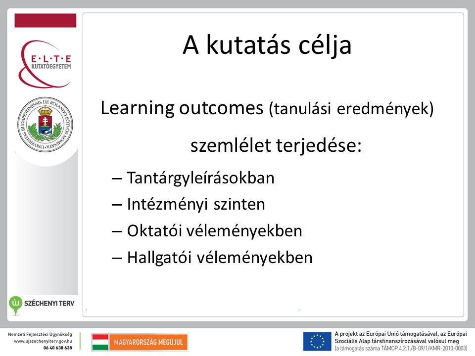 A kutatás célja Learning outcomes (tanulási eredmények) szemlélet terjedése: – Tantárgyleírásokban – Intézményi szinten – Oktatói véleményekben – Hallgatói véleményekben