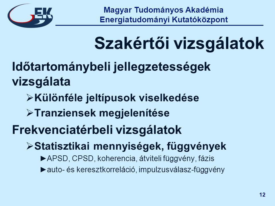 Magyar Tudományos Akadémia Energiatudományi Kutatóközpont 12 Szakértői vizsgálatok Időtartománybeli jellegzetességek vizsgálata  Különféle jeltípusok