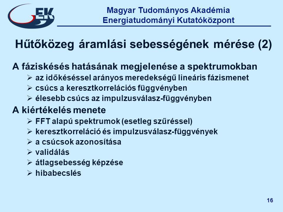 Magyar Tudományos Akadémia Energiatudományi Kutatóközpont 16 Hűtőközeg áramlási sebességének mérése (2) A fáziskésés hatásának megjelenése a spektrumo
