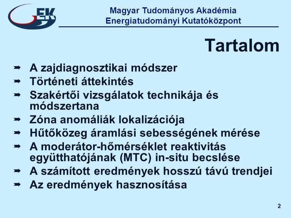 Magyar Tudományos Akadémia Energiatudományi Kutatóközpont 2 Tartalom   A zajdiagnosztikai módszer   Történeti áttekintés   Szakértői vizsgálatok
