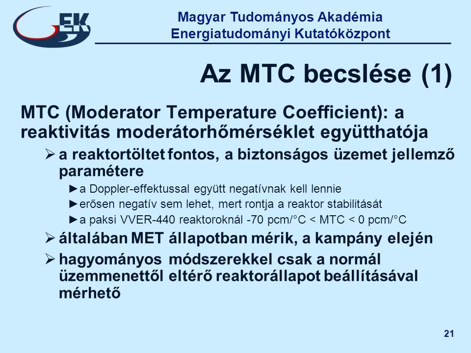 21 Az MTC becslése (1) MTC (Moderator Temperature Coefficient): a reaktivitás moderátorhőmérséklet együtthatója  a reaktortöltet fontos, a biztonságo