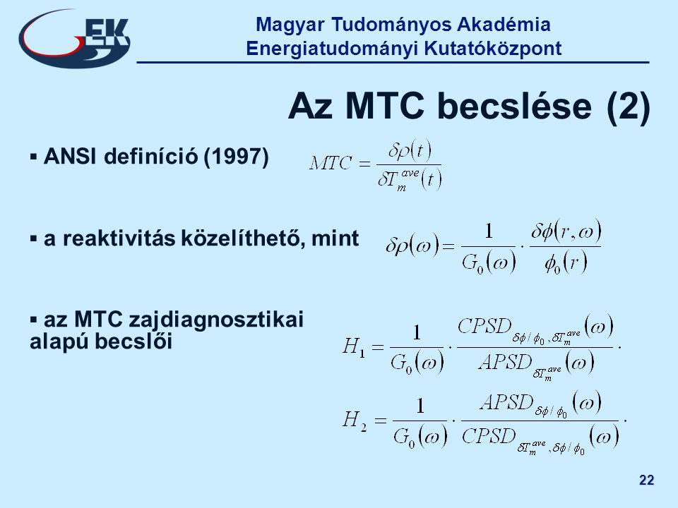 Magyar Tudományos Akadémia Energiatudományi Kutatóközpont 22 Az MTC becslése (2) ▪ ANSI definíció (1997) ▪ a reaktivitás közelíthető, mint ▪ az MTC za