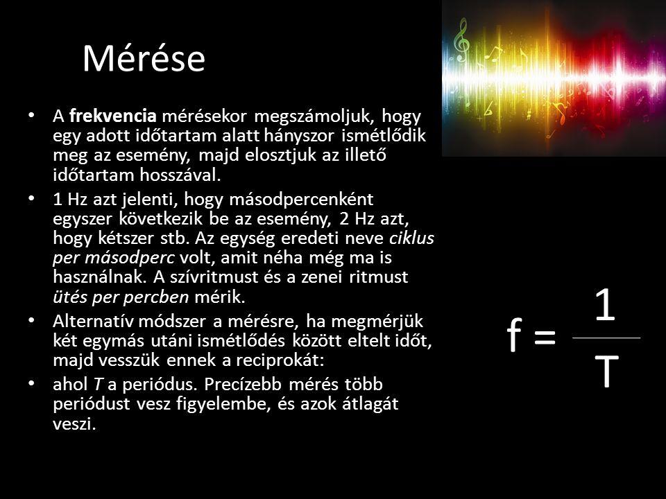 Mérése A frekvencia mérésekor megszámoljuk, hogy egy adott időtartam alatt hányszor ismétlődik meg az esemény, majd elosztjuk az illető időtartam hosszával.