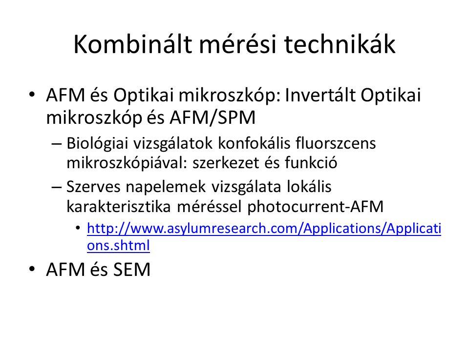Kombinált mérési technikák AFM és Optikai mikroszkóp: Invertált Optikai mikroszkóp és AFM/SPM – Biológiai vizsgálatok konfokális fluorszcens mikroszkópiával: szerkezet és funkció – Szerves napelemek vizsgálata lokális karakterisztika méréssel photocurrent-AFM http://www.asylumresearch.com/Applications/Applicati ons.shtml http://www.asylumresearch.com/Applications/Applicati ons.shtml AFM és SEM