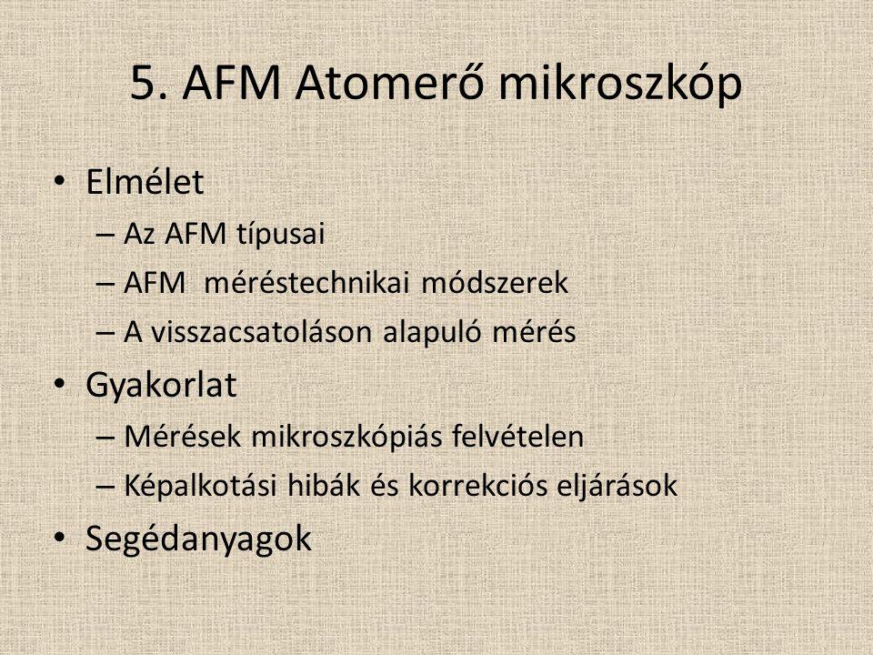 5. AFM Atomerő mikroszkóp Elmélet – Az AFM típusai – AFM méréstechnikai módszerek – A visszacsatoláson alapuló mérés Gyakorlat – Mérések mikroszkópiás