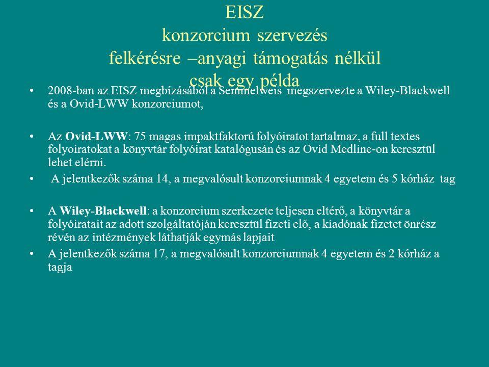 EISZ konzorcium szervezés felkérésre –anyagi támogatás nélkül csak egy példa 2008-ban az EISZ megbízásából a Semmelweis megszervezte a Wiley-Blackwell és a Ovid-LWW konzorciumot, Az Ovid-LWW: 75 magas impaktfaktorú folyóiratot tartalmaz, a full textes folyoiratokat a könyvtár folyóirat katalógusán és az Ovid Medline-on keresztül lehet elérni.