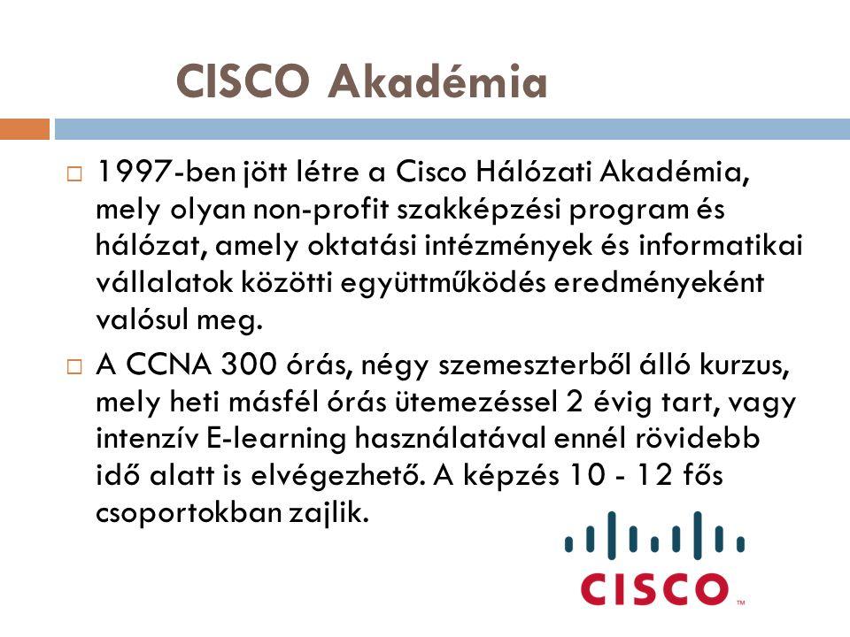 CISCO Akadémia  1997-ben jött létre a Cisco Hálózati Akadémia, mely olyan non-profit szakképzési program és hálózat, amely oktatási intézmények és informatikai vállalatok közötti együttműködés eredményeként valósul meg.