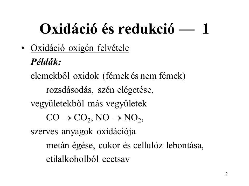 2 Oxidáció és redukció — 1 Oxidáció oxigén felvétele Példák: elemekből oxidok (fémek és nem fémek) rozsdásodás, szén elégetése, vegyületekből más vegyületek CO  CO 2, NO  NO 2, szerves anyagok oxidációja metán égése, cukor és cellulóz lebontása, etilalkoholból ecetsav