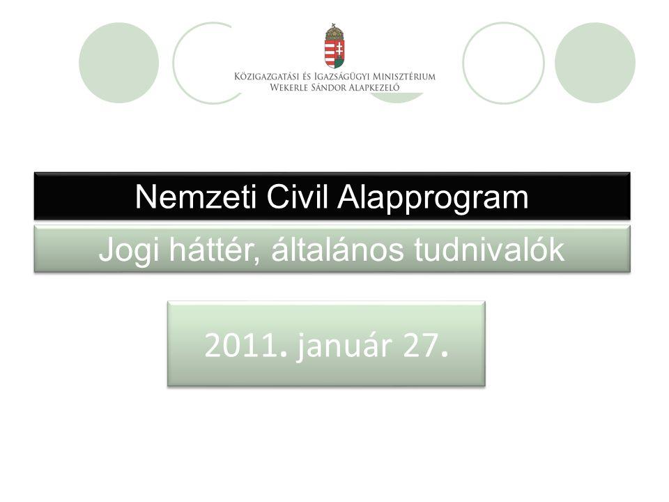 Nemzeti Civil Alapprogram Jogi háttér, általános tudnivalók 2011. január 27.