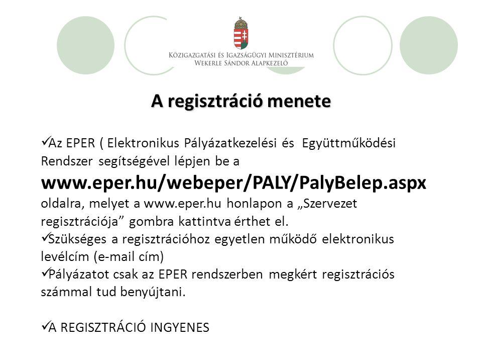 """A regisztráció menete Az EPER ( Elektronikus Pályázatkezelési és Együttműködési Rendszer segítségével lépjen be a www.eper.hu/webeper/PALY/PalyBelep.aspx oldalra, melyet a www.eper.hu honlapon a """"Szervezet regisztrációja gombra kattintva érthet el."""