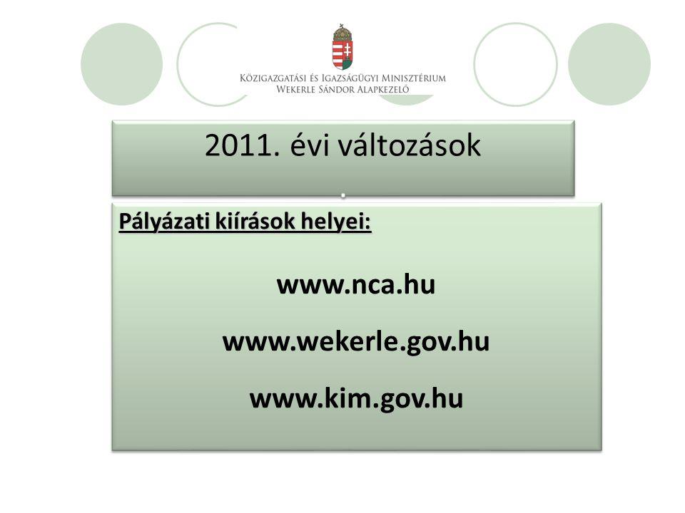2011. évi változások. 2011. évi változások.