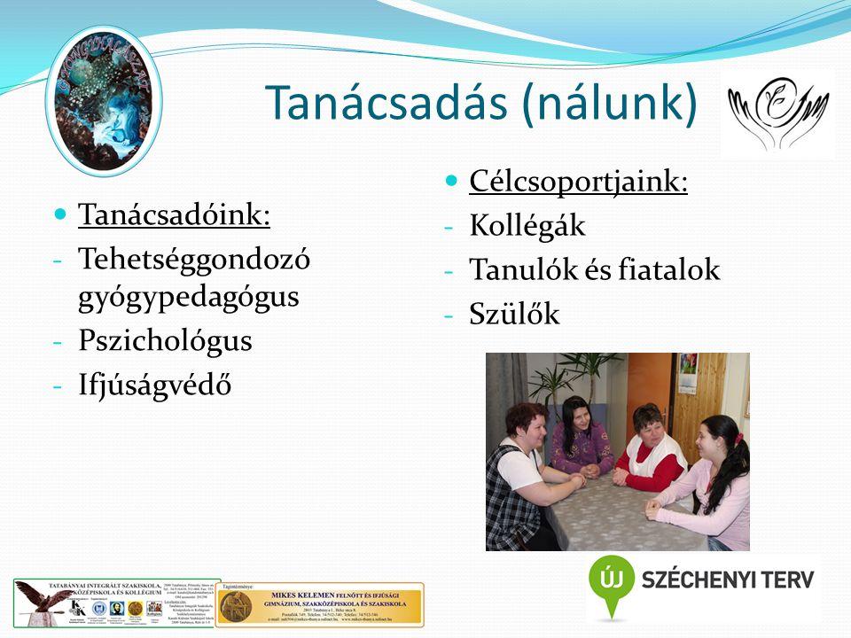Tanácsadás (nálunk) Tanácsadóink: - Tehetséggondozó gyógypedagógus - Pszichológus - Ifjúságvédő Célcsoportjaink: - Kollégák - Tanulók és fiatalok - Sz