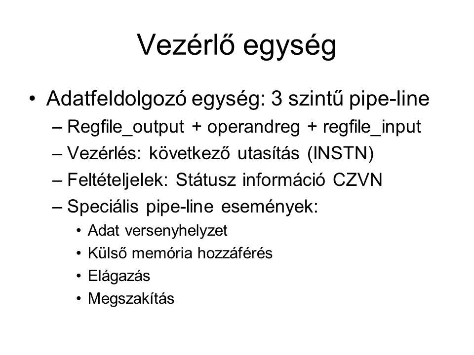 Vezérlő egység Adatfeldolgozó egység: 3 szintű pipe-line –Regfile_output + operandreg + regfile_input –Vezérlés: következő utasítás (INSTN) –Feltételj