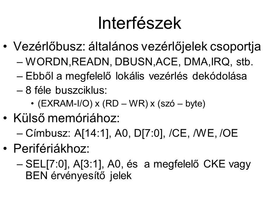 Interfészek Vezérlőbusz: általános vezérlőjelek csoportja –WORDN,READN, DBUSN,ACE, DMA,IRQ, stb. –Ebből a megfelelő lokális vezérlés dekódolása –8 fél