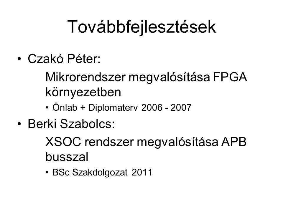Továbbfejlesztések Czakó Péter: Mikrorendszer megvalósítása FPGA környezetben Önlab + Diplomaterv 2006 - 2007 Berki Szabolcs: XSOC rendszer megvalósít