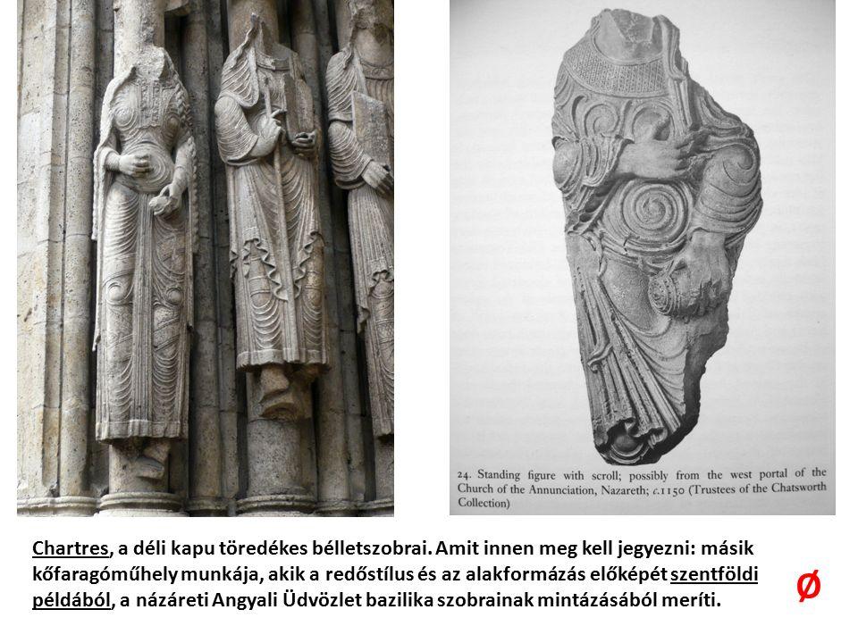 Chartres, a déli kapu töredékes bélletszobrai.