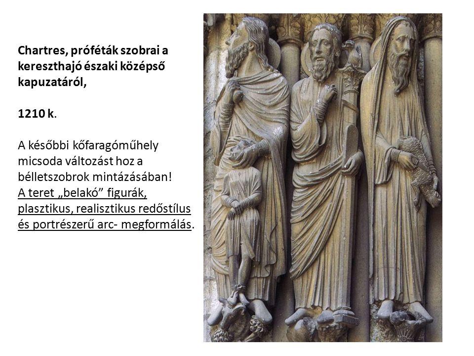 Chartres, próféták szobrai a kereszthajó északi középső kapuzatáról, 1210 k.