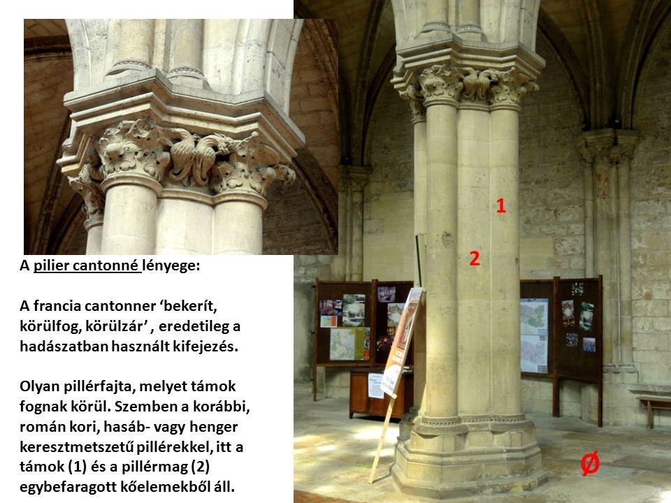A támok, vagyis a pillér bővítményei tehát nem teljes, hanem háromnegyed- oszlopok.