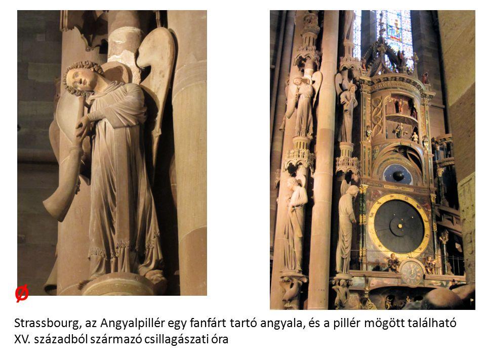 Strassbourg, az Angyalpillér egy fanfárt tartó angyala, és a pillér mögött található XV.