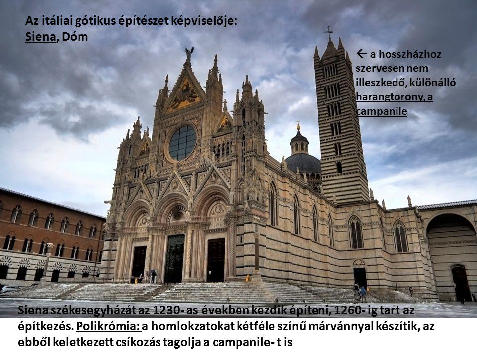Az összehasonlítás kedvéért: a gótika Itáliában és Franciaországban  Orvieto, Duomo és Párizs, Notre- Dame   1  2 A francia katedrálisok jellegzetes architektúra- eleme a királygaléria (1) és a magas, mérműves vakárkád- sor (2) Az olasz gótika előszeretettel alkalmaz aranyszín hátterű mozaikképeket a háromszögű oromzatokon, a vertikális és horizontális tagolóelemek pedig (pl.