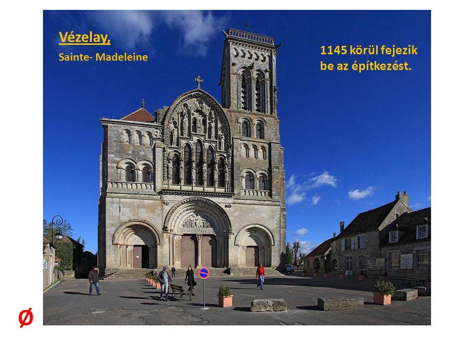 Vézelay, belső tér: a hevederívek polikróm tagolásúak, a félkörű dongaív még a romanika formai- szerkezeti tradícióját őrzi.