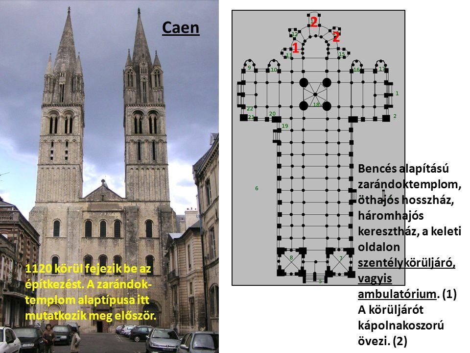 Caen Bencés alapítású zarándoktemplom, öthajós hosszház, háromhajós keresztház, a keleti oldalon szentélykörüljáró, vagyis ambulatórium.