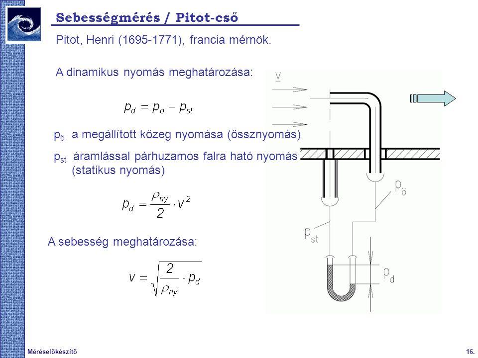 16.Méréselőkészítő 2009. tavasz Sebességmérés / Pitot-cső Pitot, Henri (1695-1771), francia mérnök.