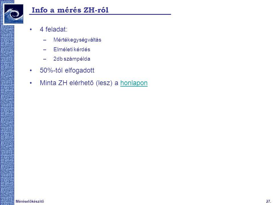27.Méréselőkészítő Info a mérés ZH-ról 4 feladat: –Mértékegységváltás –Elméleti kérdés –2db számpélda 50%-tól elfogadott Minta ZH elérhető (lesz) a honlaponhonlapon