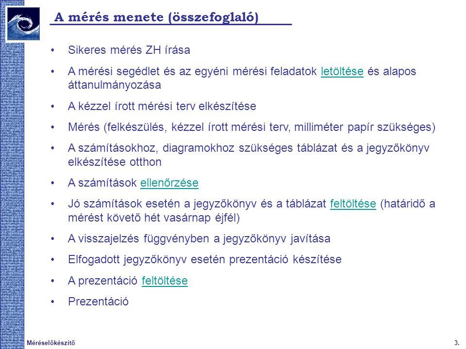 3.Méréselőkészítő A mérés menete (összefoglaló) Sikeres mérés ZH írása A mérési segédlet és az egyéni mérési feladatok letöltése és alapos áttanulmányozásaletöltése A kézzel írott mérési terv elkészítése Mérés (felkészülés, kézzel írott mérési terv, milliméter papír szükséges) A számításokhoz, diagramokhoz szükséges táblázat és a jegyzőkönyv elkészítése otthon A számítások ellenőrzéseellenőrzése Jó számítások esetén a jegyzőkönyv és a táblázat feltöltése (határidő a mérést követő hét vasárnap éjfél)feltöltése A visszajelzés függvényben a jegyzőkönyv javítása Elfogadott jegyzőkönyv esetén prezentáció készítése A prezentáció feltöltésefeltöltése Prezentáció