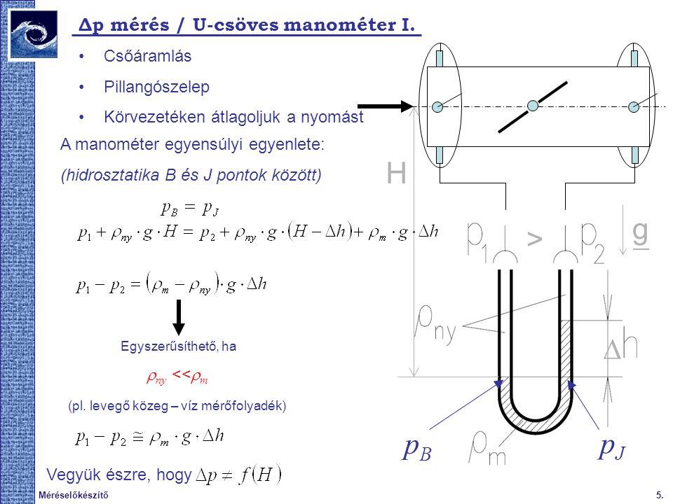  6.Méréselőkészítő A nyomáskülönbség mérése / U-csöves manométer II.