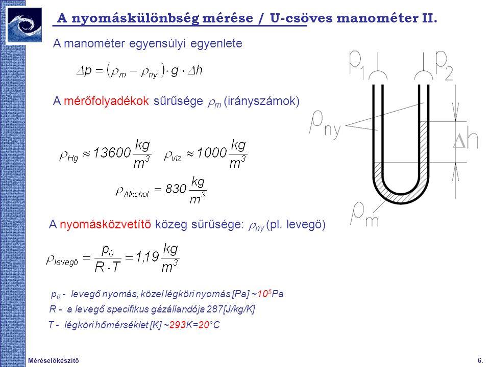 7.Méréselőkészítő Δp mérés / U-csöves manométer pontossága III.