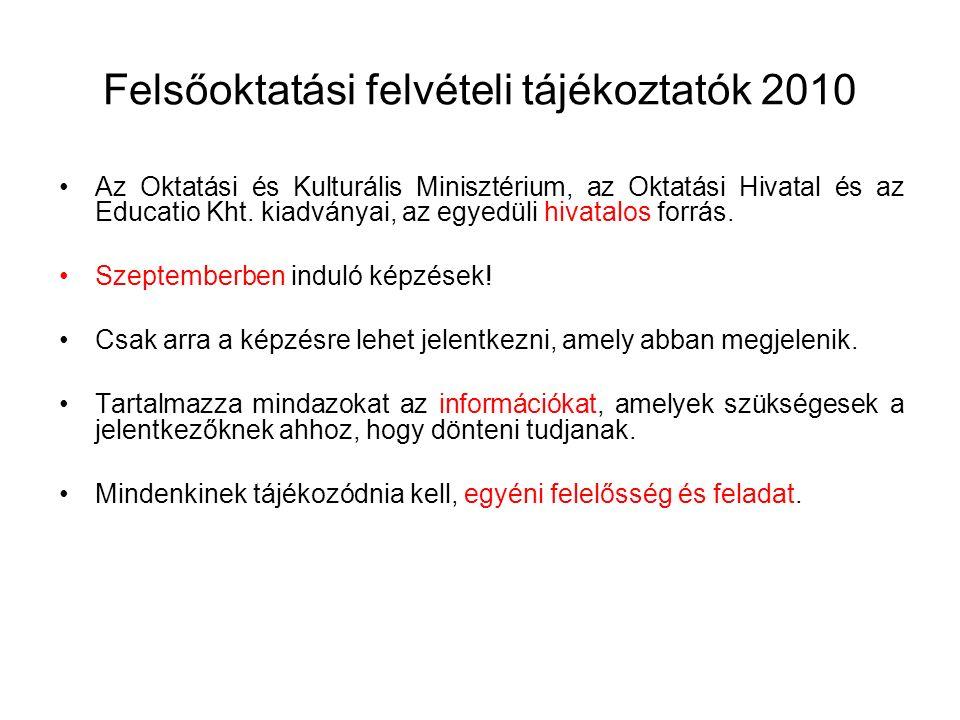 Felsőoktatási felvételi tájékoztatók 2010 Az Oktatási és Kulturális Minisztérium, az Oktatási Hivatal és az Educatio Kht. kiadványai, az egyedüli hiva