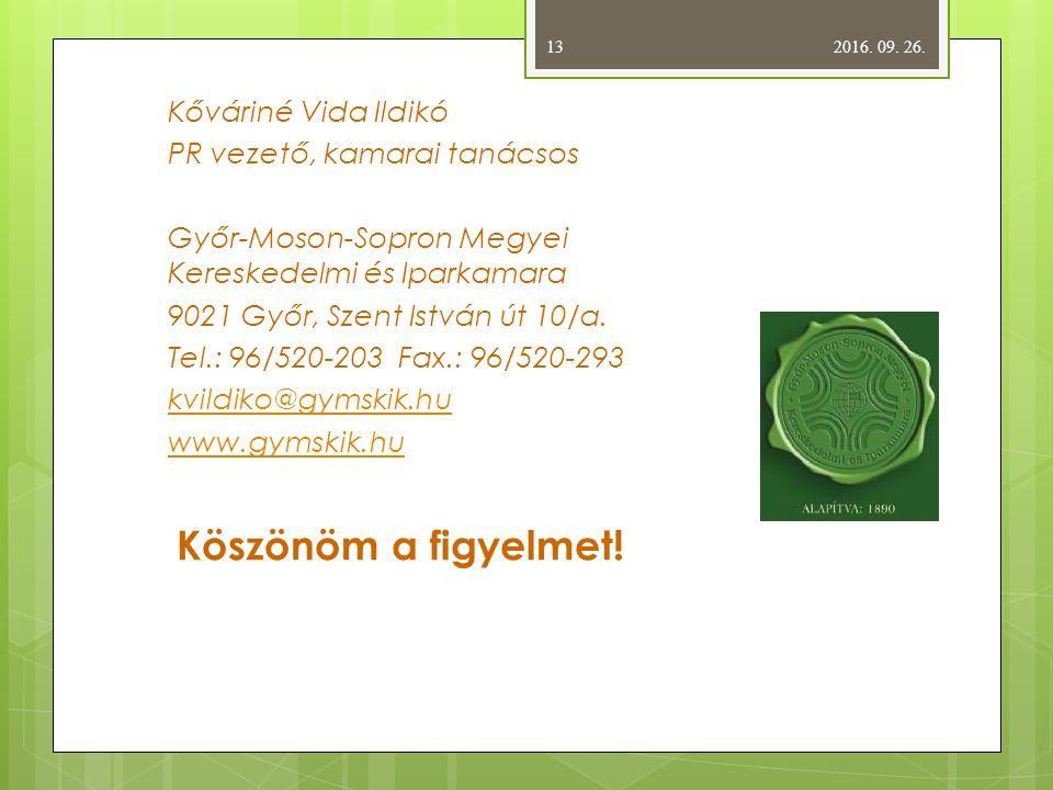 Kőváriné Vida Ildikó PR vezető, kamarai tanácsos Győr-Moson-Sopron Megyei Kereskedelmi és Iparkamara 9021 Győr, Szent István út 10/a.