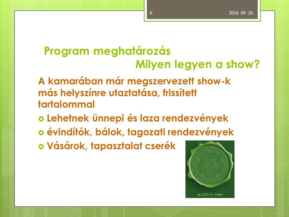 Program meghatározás Milyen legyen a show.